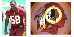Redskins logo and player