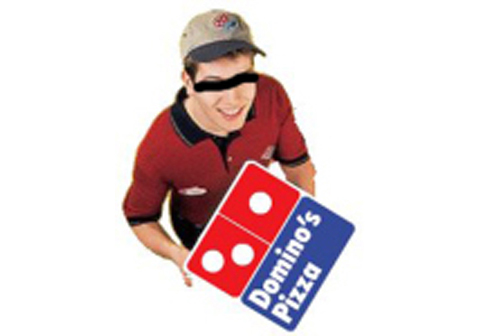 Dominoes Pizza delivery man with eyes crossed out