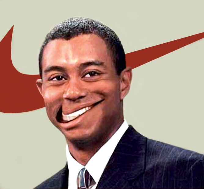 Tiger Woods with mouth in shape of Nike symbol