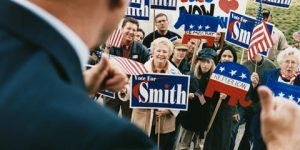 politician thumbs up at crowd with republican and vote for smith signs