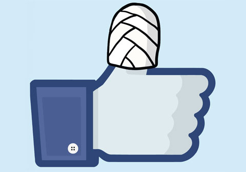 Facebook like thumbs up with broken thumb