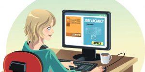 illustration of woman job hunting on computer