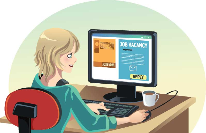 illustration of woman job hunting on computer