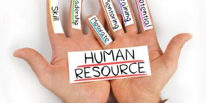 hands with words Human Resource: Skill, Leadership, Motivate, Mentoring, Training, Potential