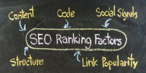 SEO Ranking factors: Content, code, social signals, structure, link popularity
