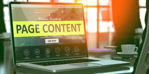 Laptop with website on screen: Page Content Business Essentials