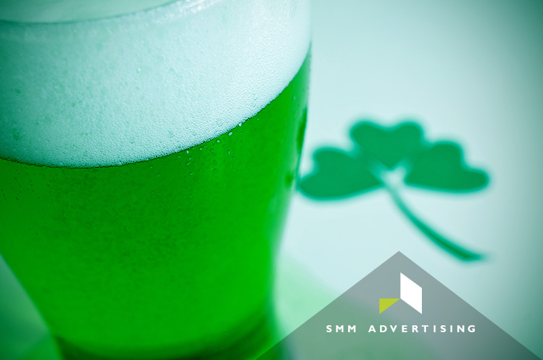 green beer, 3-leaf clover, SMM Advertising logo