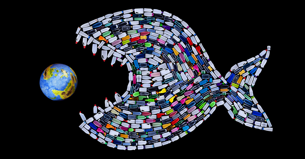 Earth Day fish out of plastic bottles on back Every day should be Earth Daybackground with Earth