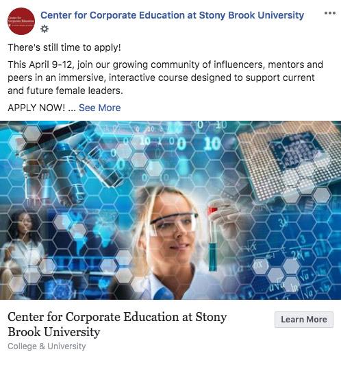 Stony Brook University CCE social media Facebook post CCE program