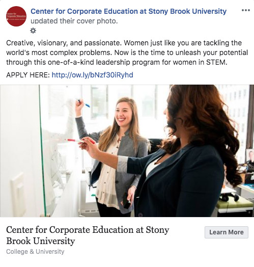 Stony Brook University CCE social media Facebook post CCE program cover photo