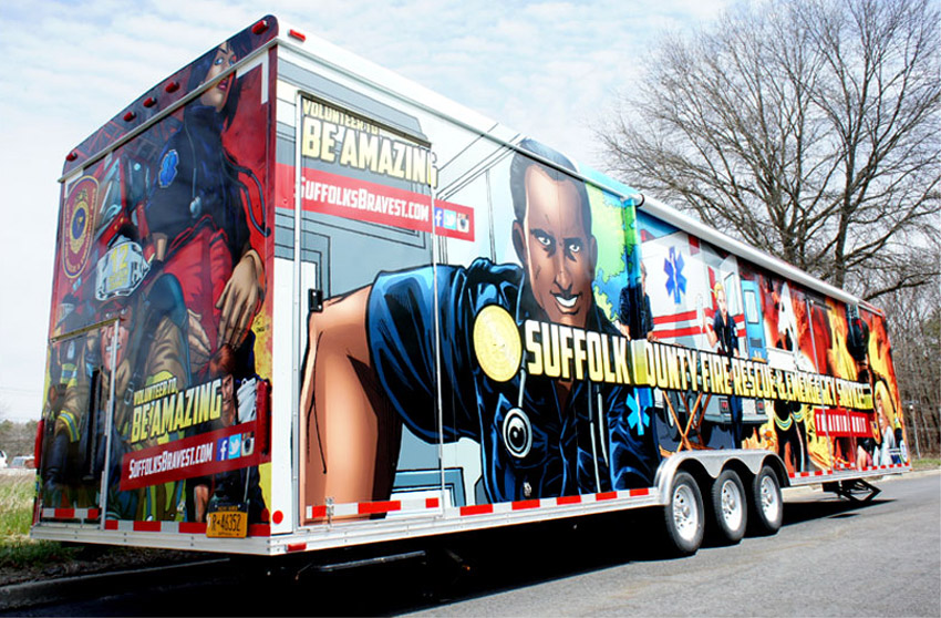Suffolk FRES trailer wrap with comic book campaign