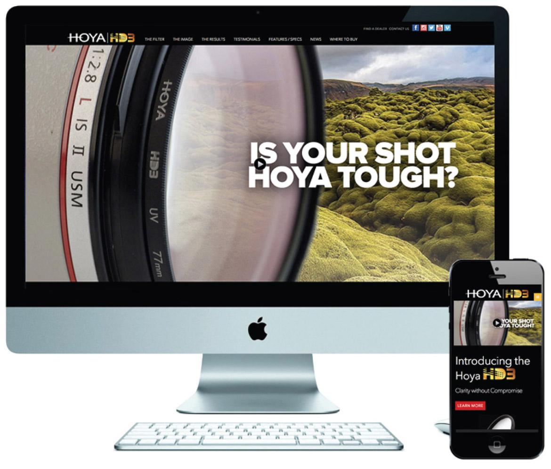 Hoya HD3 website desktop and mobile mockup