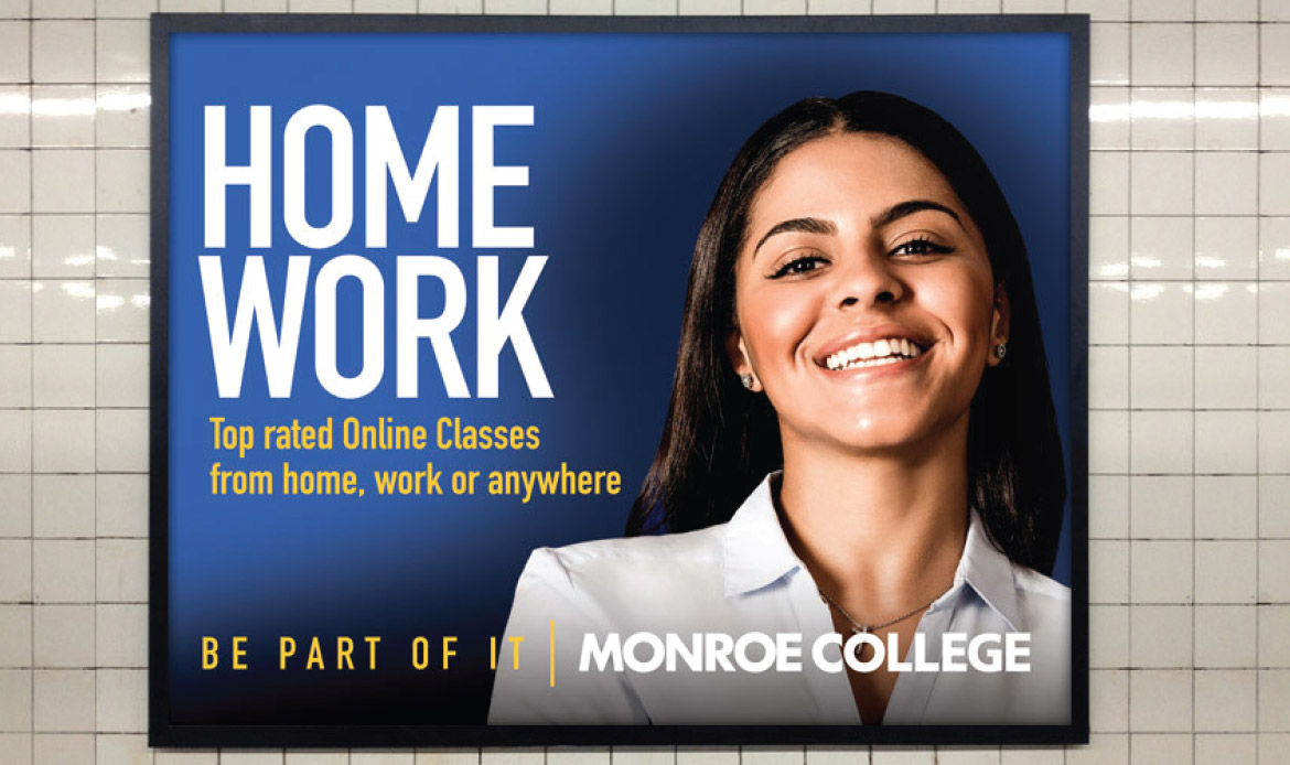 Monroe College subway print ad