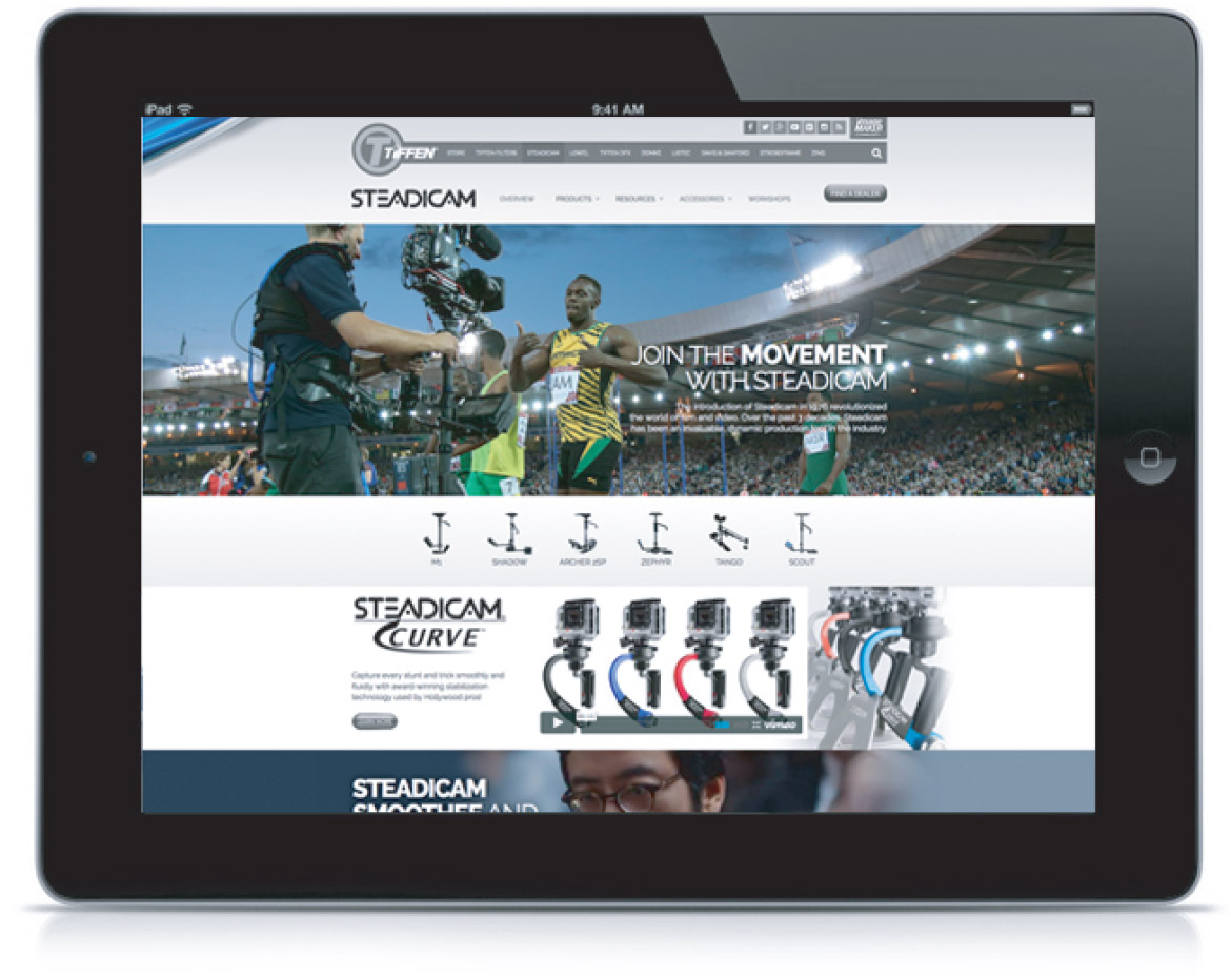 Tiffen Stedicam website iPad mockup