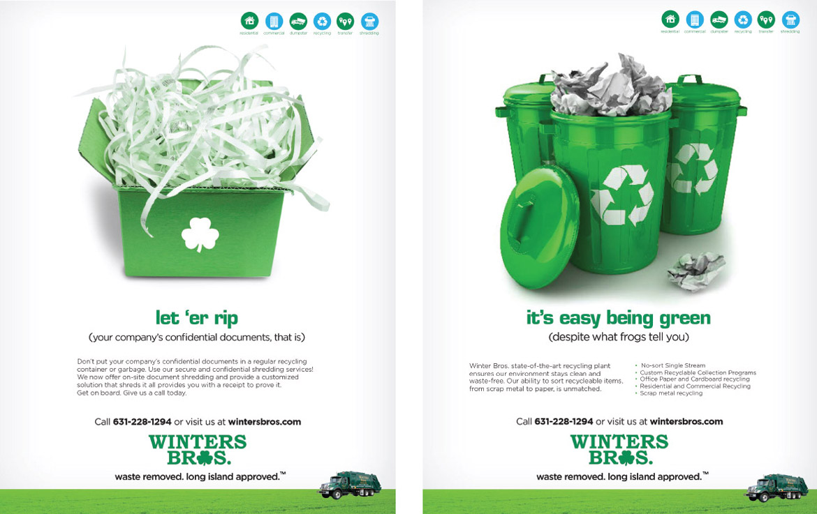 Winters Bros print ads paper shredding and recycling