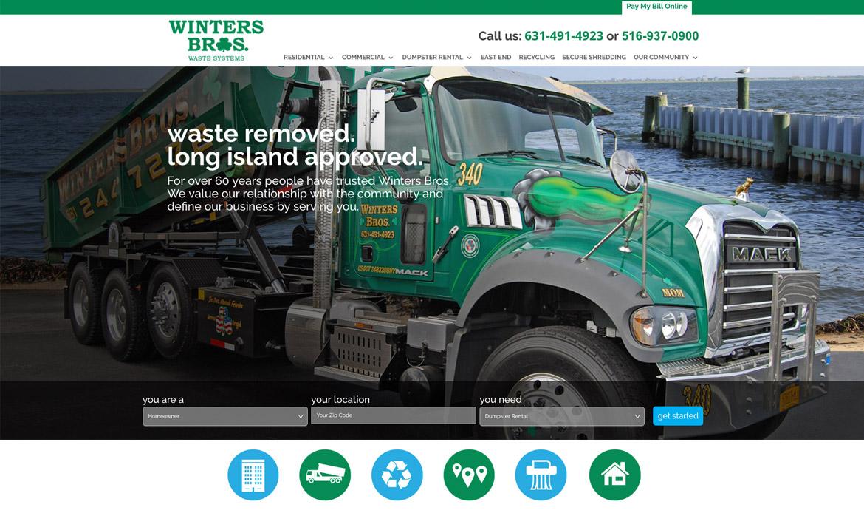Winters Bros website on desktop