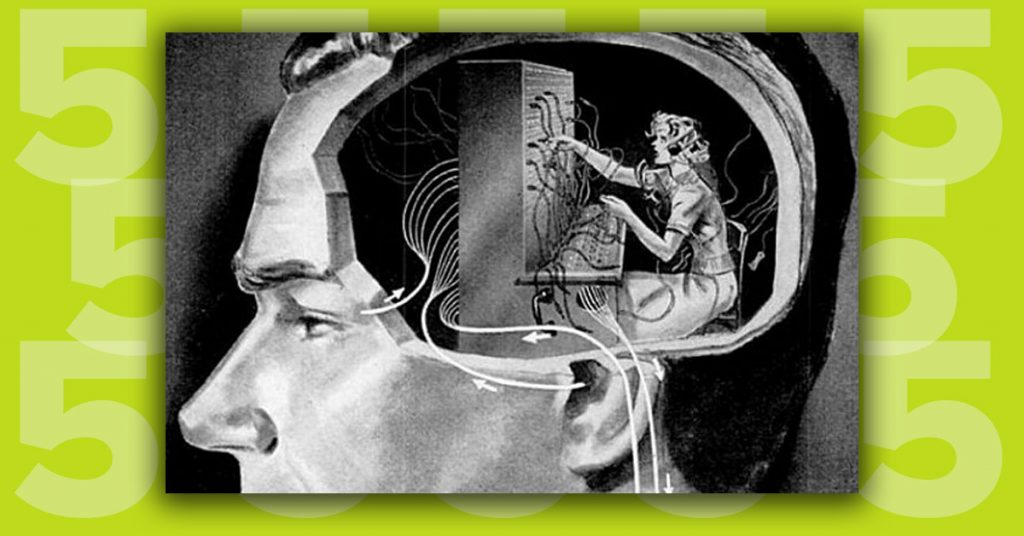 drawing of man with telephone operator inside his head