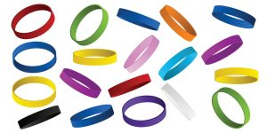 Charity rubber wristbands in multiple colors