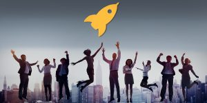 Office professionals jumping with rocket icon