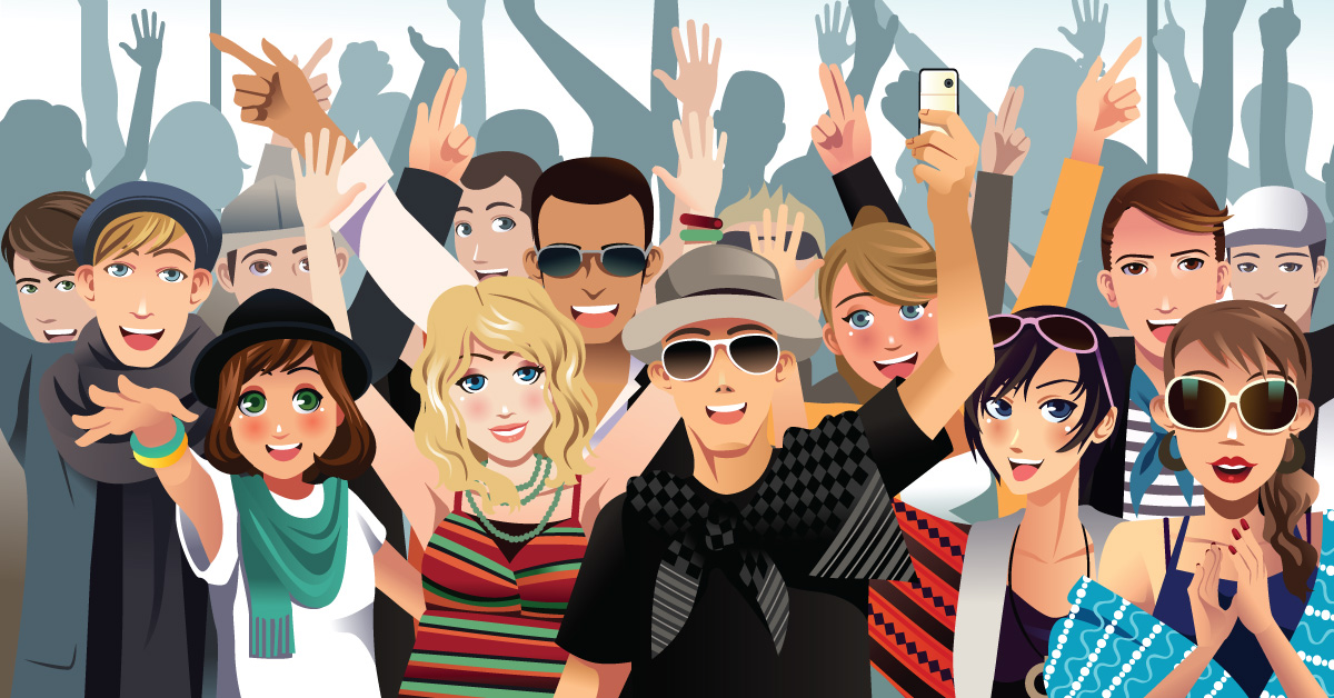 illustration of crowd of young people