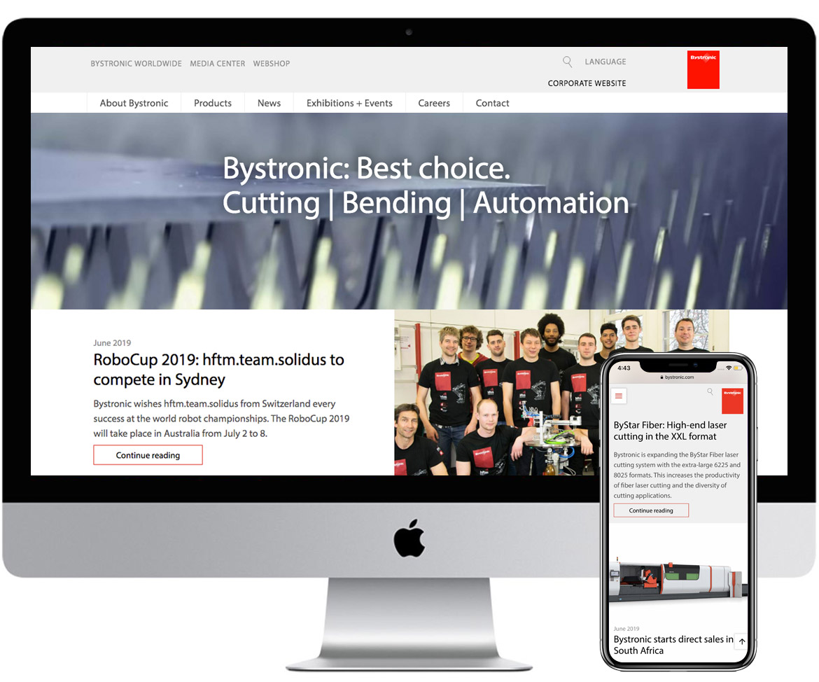 Bystronic website desktop and mobile mockup