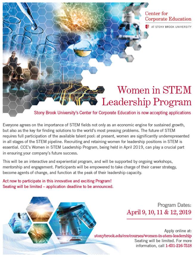 Stony Brook CCE flyer for Women in STEM Leadership Program
