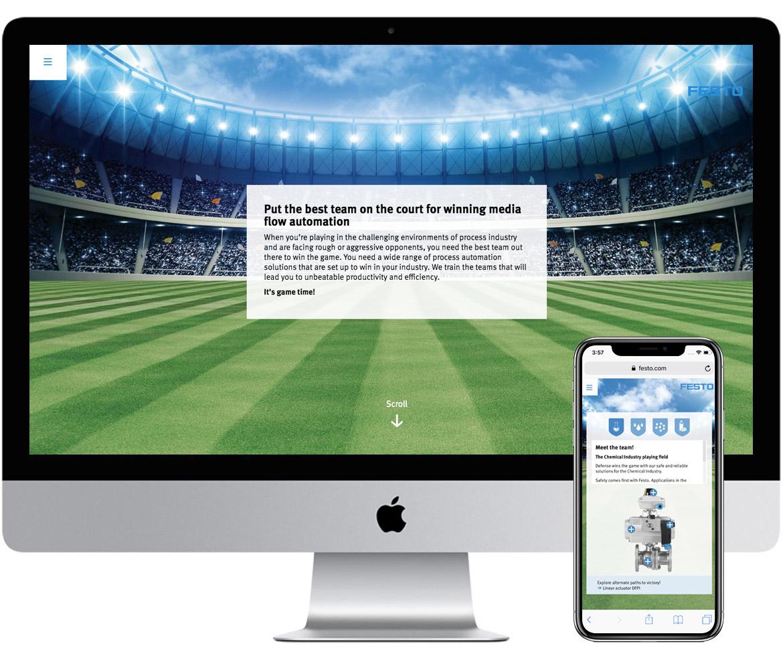 Festo microsite desktop and mobile mockup English