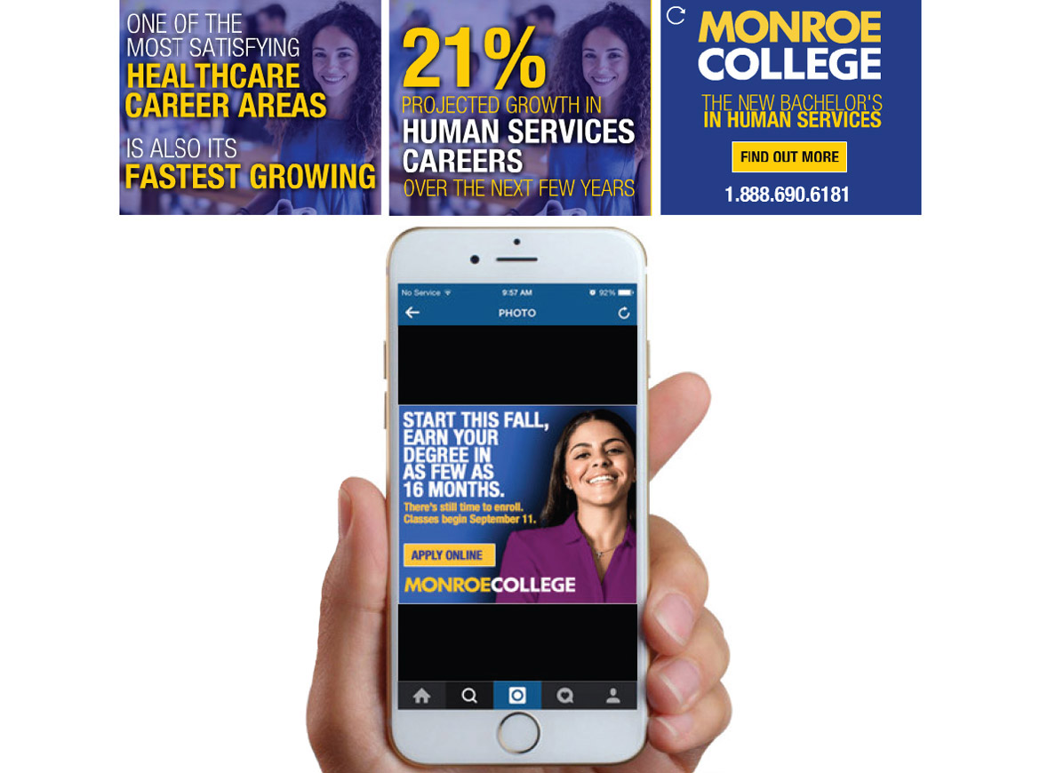 Monroe College digital ads mockup