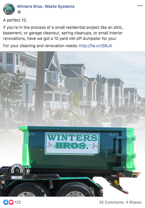 Winters Bros social media Facebook Post roll-off garbage dumpster