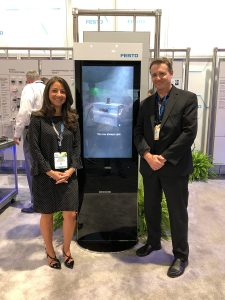 Festo's Director of Marketing Communications - North America, Kristine Inserra, with SMM Advertising Creative Director, Bill Blaney, at Pack Expo 2019 in Las Vegas, NV